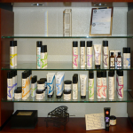 Many fine hair care products for sale.