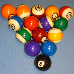 Pool balls racked and ready