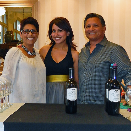 Sandra Castañeda (center) with Debbi and Mike Sanchez of Fortino Winery